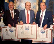 George Doundoulakis, John Androulakis, and Helias Doundoulakis at awards ceremony, for the Battle of Crete's 41st anniversary. All three worked with the Resistance prior to escaping to Egypt in 1943.