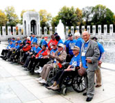 Helias Doundoulakis with fellow veterans at the WW II Memorial, Washington DC, during Honor Flight Long Island Nov. 2009 trip.