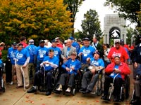 Honor Flight Long Island, November 2009.  Doundoulakis with group of New York area veterans at the WW II Memorial, Washington, DC.